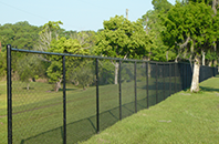 Chain link fencing at a park