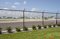 Chain link fencing at an airport